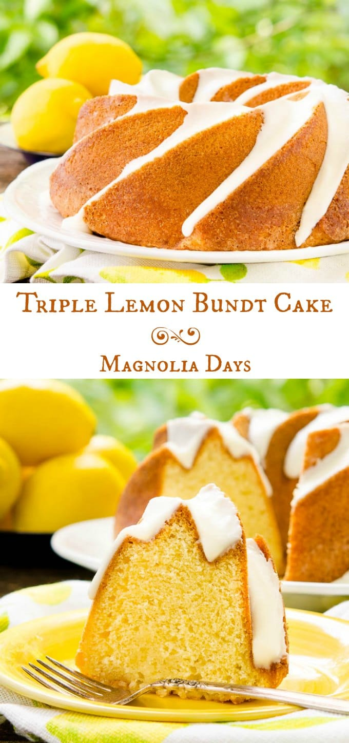Triple Lemon Bundt Cake is flavored with lemon zest, soaked with lemon glaze, and topped with another lemon glaze. It's super lemony and oh so good!