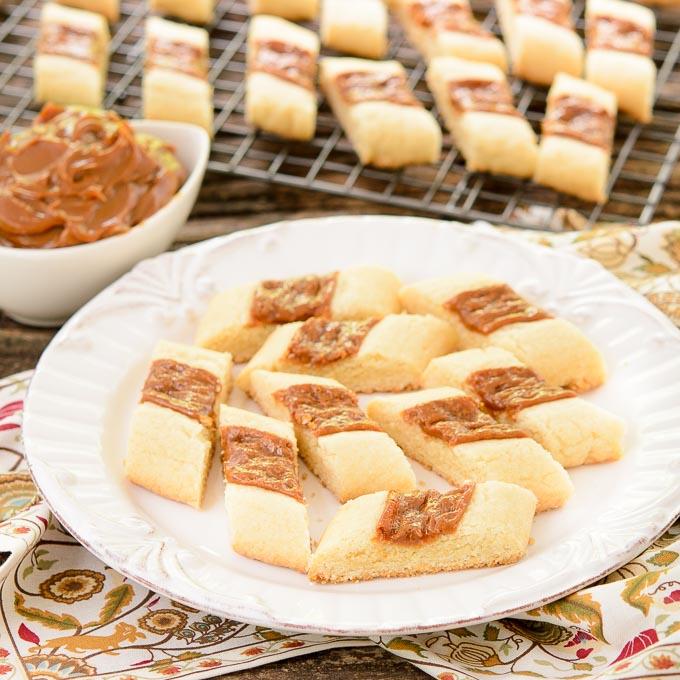 Caramel Shortbread Cookie Strips