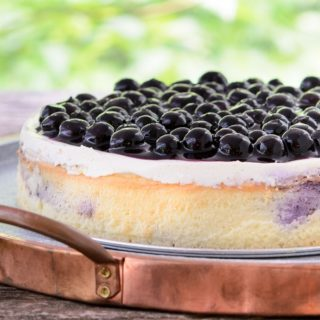 Crustless Creamy Blueberry Swirl Cheesecake for #SundaySupper