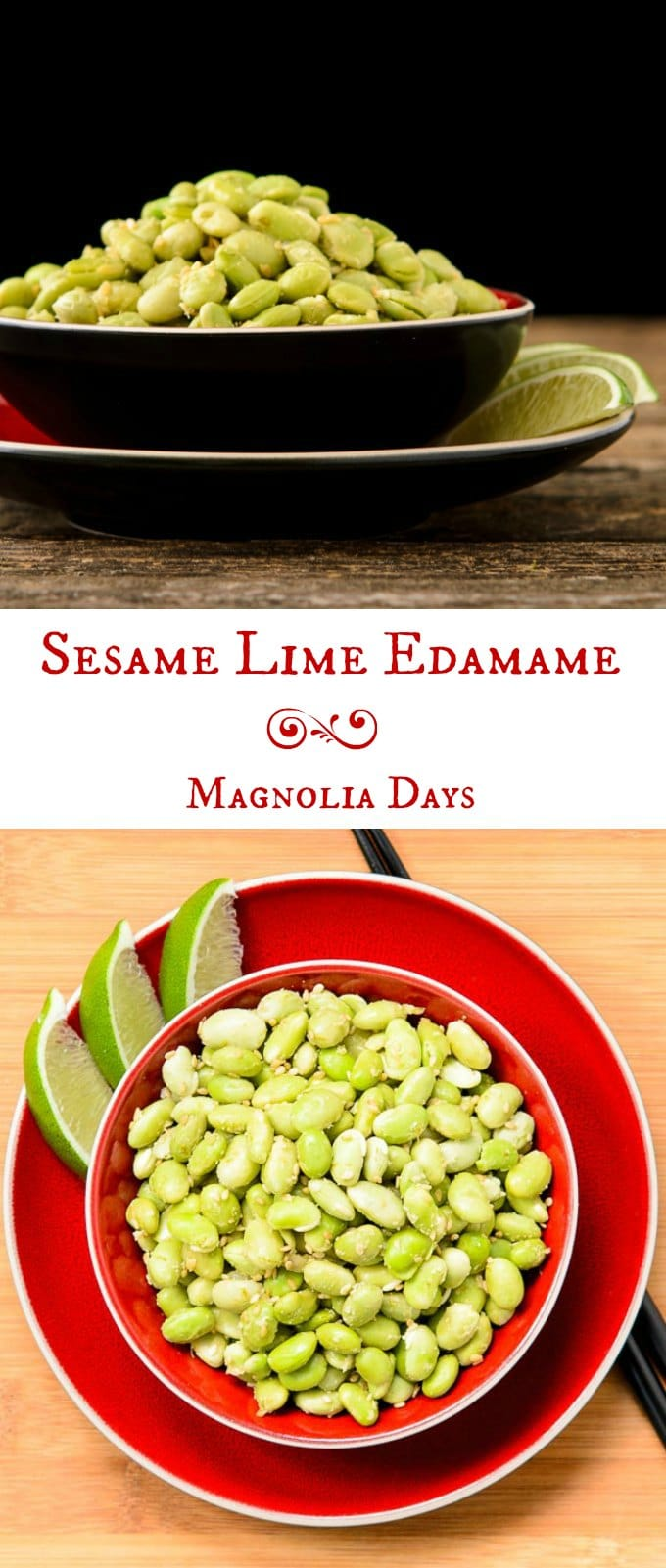 Sesame Lime Edamame with toasted sesame seeds and fresh lime juice and zest. Make it in a few minutes for a delicious side or appetizer.