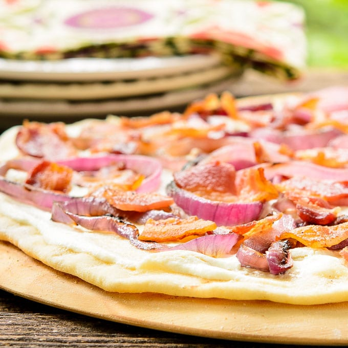 Grilled Bacon Onion Cheese Flatbread (Flammkuchen) | Magnolia Days