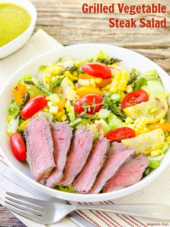 Grilled Vegetable Steak Salad   Magnolia Days
