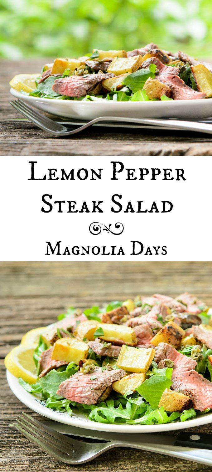 Lemon Pepper Steak Salad with roasted potatoes, capers, arugula, and lemon dressing. If you love lemon, steak, potatoes, and salad, this is the recipe to make.