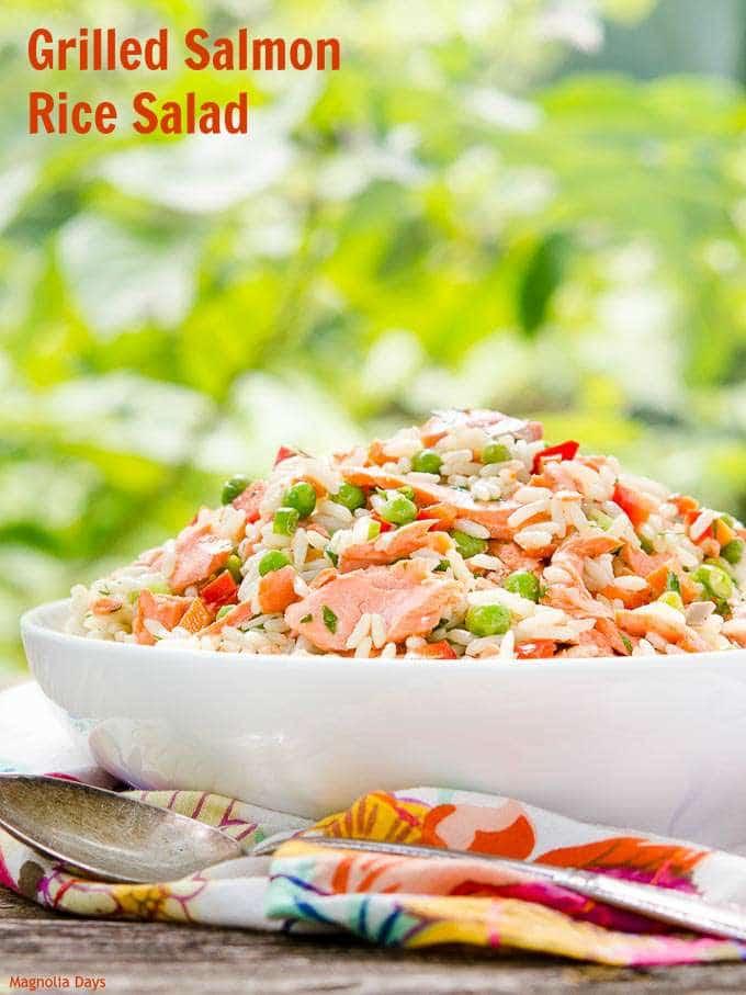 Grilled Salmon Rice Salad | Magnolia Days