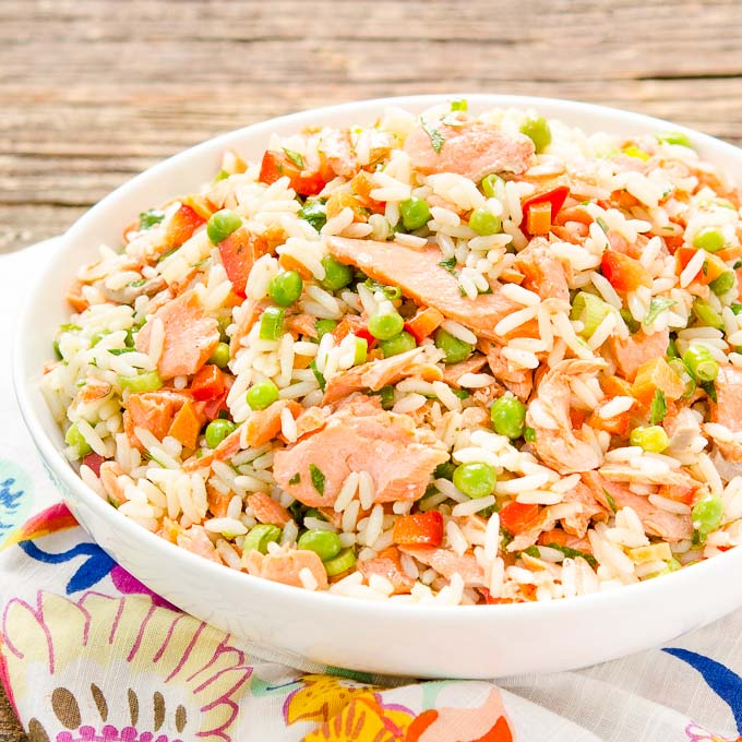 Grilled Salmon Rice Salad | Magnolia Days