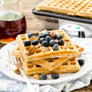 Honey Nut Oatmeal Waffles for #BreadBakers