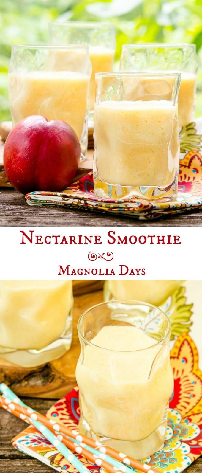 Nectarine Smoothie made with fresh fruit, yogurt, milk, and honey. It's cool, creamy, and has a delicate flavor.