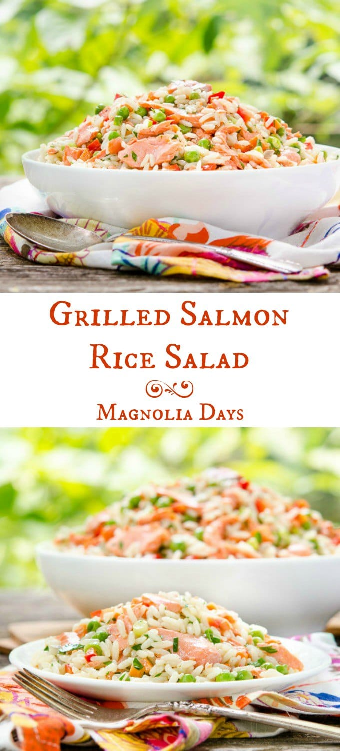 Grilled Salmon Rice Salad is a wonderful make-ahead dish for entertaining. It's loaded with vegetables and has a lemony white wine dressing.