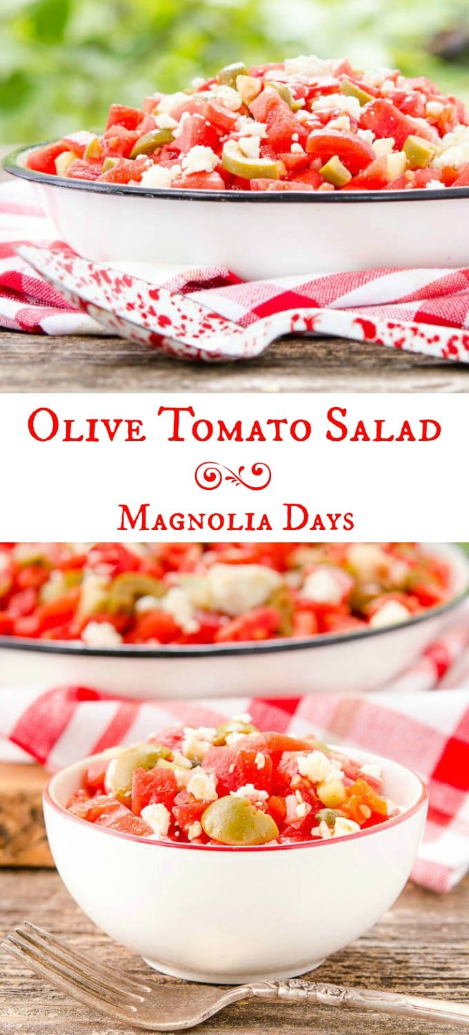 Olive Tomato Salad is wonderful for summer entertaining. Garden-fresh tomatoes and cucumber are mixed with olives, feta cheese, shallot, and tossed with a light oil and vinegar dressing.