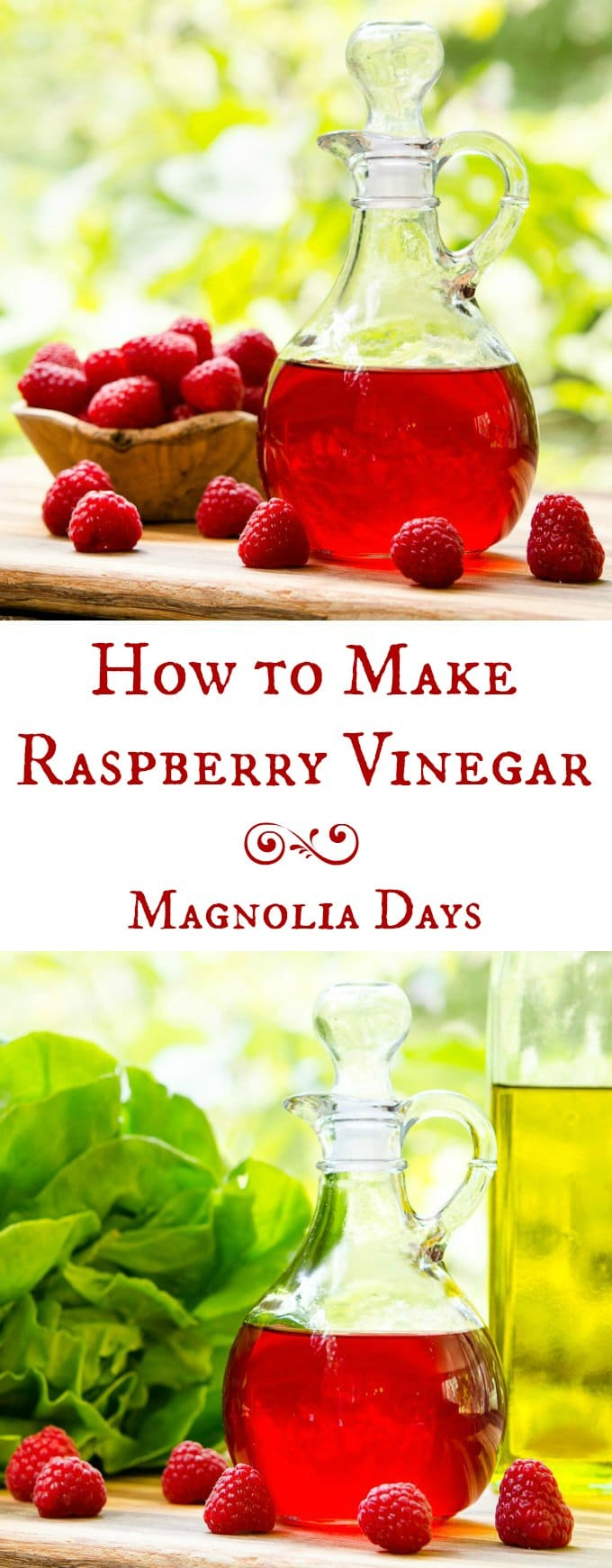 How to make homemade raspberry vinegar by infusing fresh raspberries into vinegar. It's so easy to do. The vinegar has bright berry flavor and a hint of lemon. It's great for salads, dressings, and to give as gifts.
