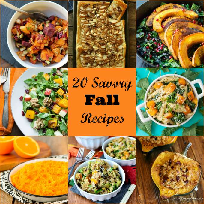 20 Savory Fall Recipes featuring the wonderful produce of the season.