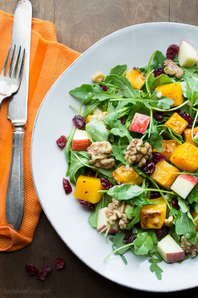Baby Arugula Butternut Salad with Maple Vinaigrette by Taste Love & Nourish