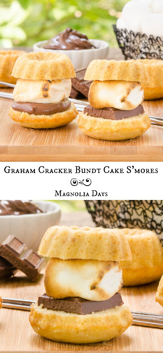 Graham Cracker Bundt Cake S'mores are an incredible treat. Chocolate and hot toasted marshmallows are sandwiched in mini graham cracker bundt cakes.
