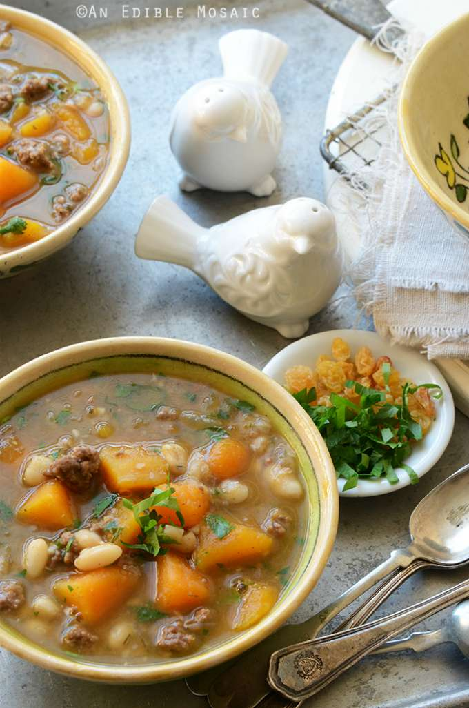 Sweet and Spicy Beef, Butternut and White Bean Stew by An Edible Mosaic