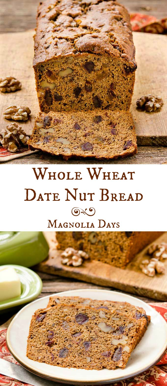 Whole Wheat Date Nut Bread is an old-fashioned quick bread loaded with chopped dates and walnuts. Serve it with butter or cream cheese for a real treat.