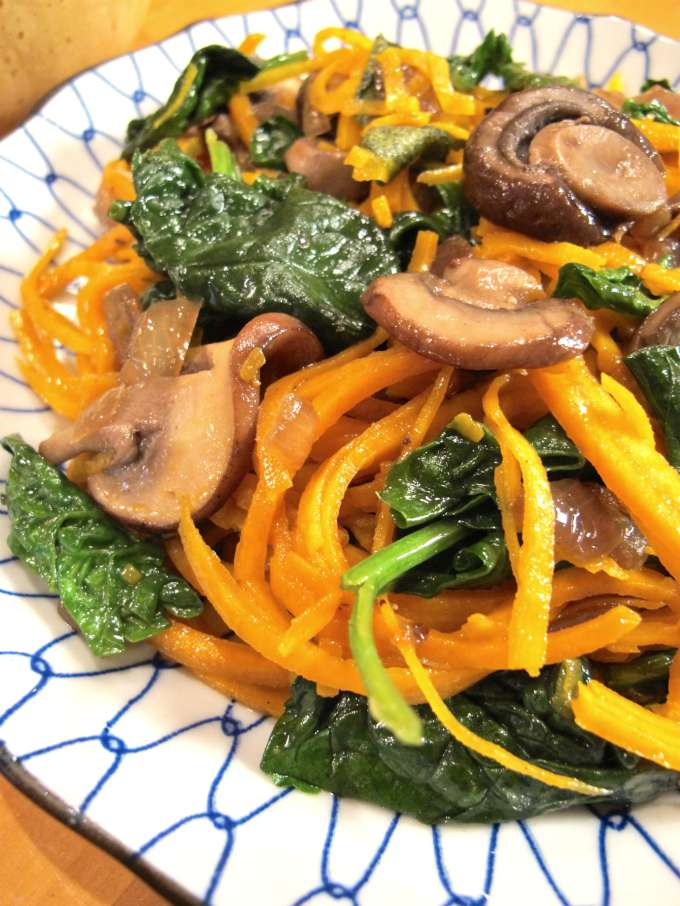 Butternut Squash Noodles with Spinach and Mushrooms by Tasting Page