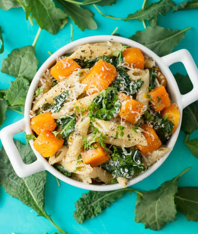 Pesto Penne with Roasted Butternut Squash and Kale by Peas & Crayons