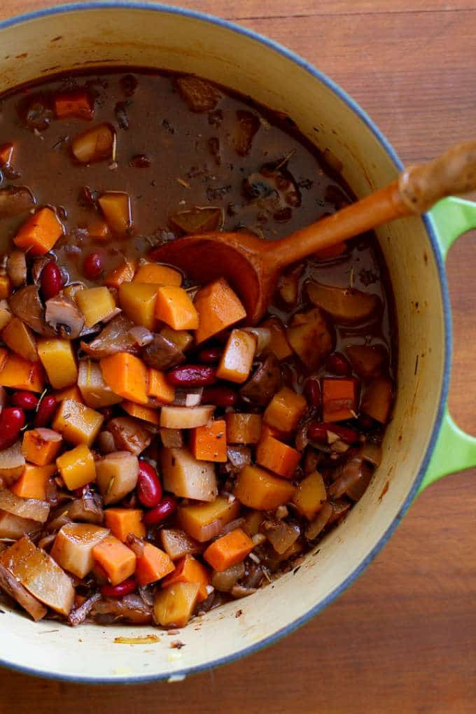 Warmly-Spiced Butternut Squash and Root Vegetable Chili with Pears by The Roasted Root
