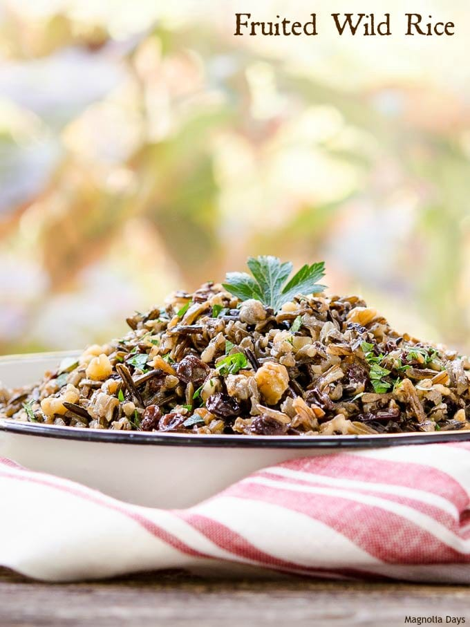 Fruited Wild Rice is filled with walnuts and currants flavored with brandy. It's an elegant, easy side dish to serve with turkey, pork, chicken, or beef. | Magnolia Days