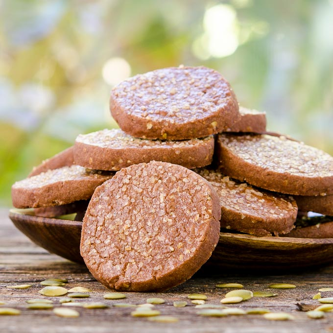 Mexican Chocolate Pepita Shortbread Cookies