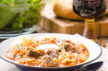 Szegediner Gulasch (German Sauerkraut Beef Goulash) for #SundaySupper