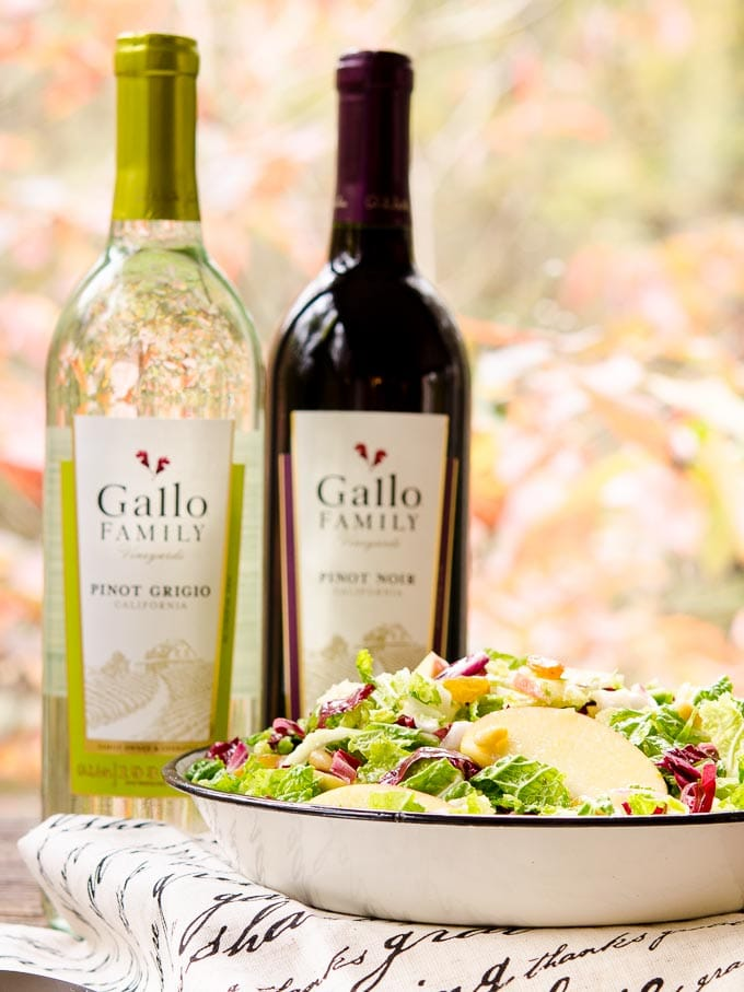 Autumn Crunch Salad with Gallo Family Vineyards Pinot Grigio and Pinot Noir.