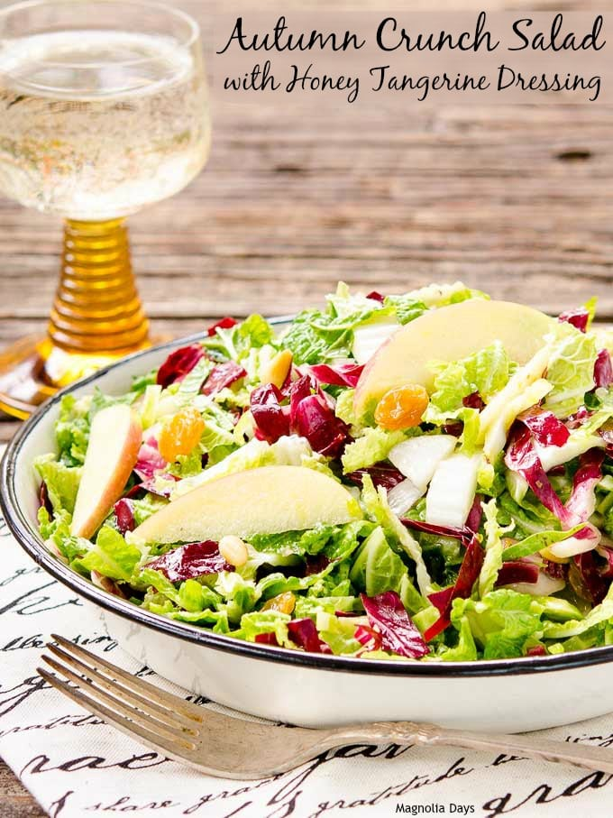 Autumn Crunch Salad combines flavors and produce of the season with a citrus dressing. It's a salad to make and take to potlucks and parties.