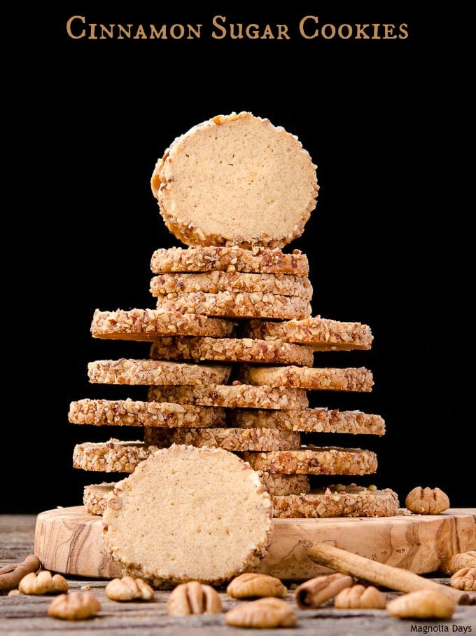 These slice and bake Cinnamon Sugar Cookies have a slight caramel flavor, nutty pecan edges, and are a snap to make.