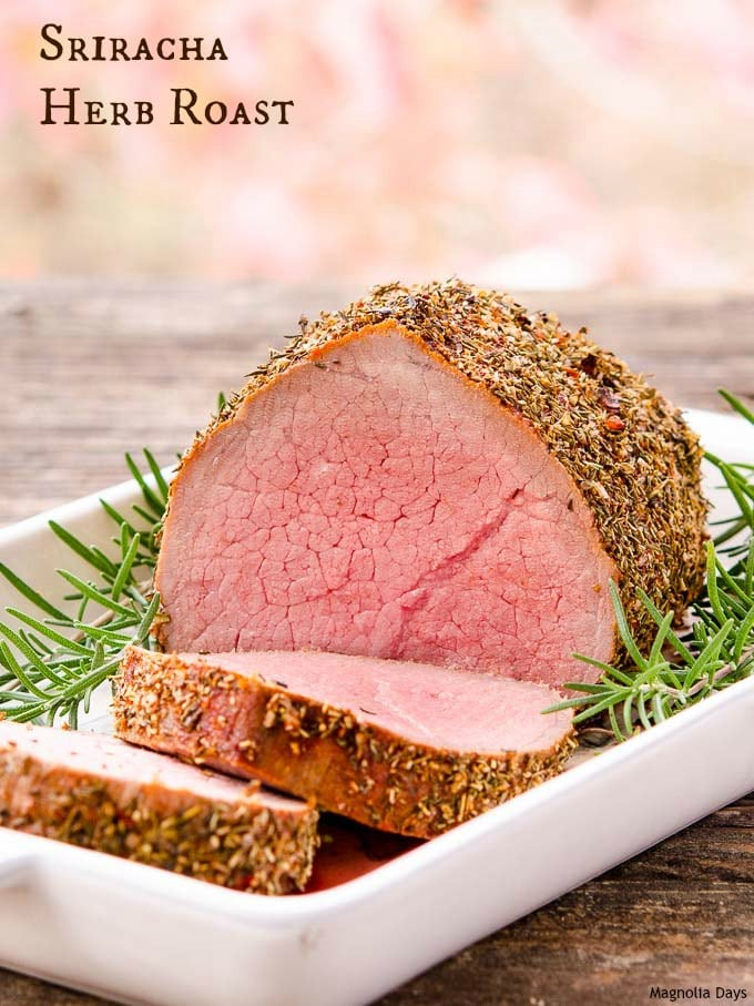 Sriracha Herb Roast is made with a spicy rub on an eye of round beef roast. Kick up your next meal with this fantastic recipe.