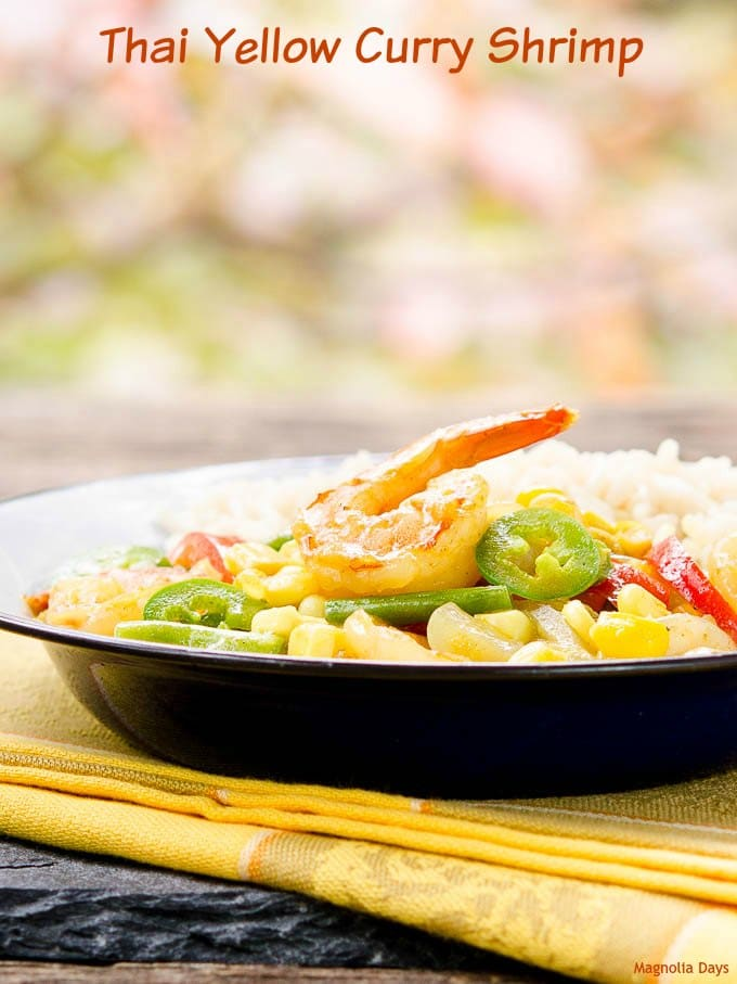 Thai Yellow Curry Shrimp is healthy comfort food. It is bursting with flavor, loaded with shrimp and vegetables, plus quick and easy to make.