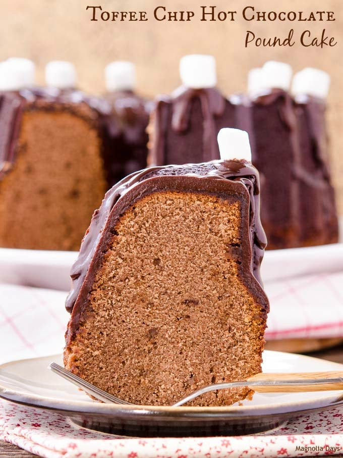 Toffee Chip Hot Chocolate Pound Cake is a special treat for a festive occasion. It's made with cocoa, sugar, and milk just like the beverage.