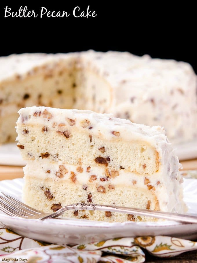 Butter Pecan Cake is a rich vanilla layer cake loaded with buttered pecans and covered in buttercream frosting.