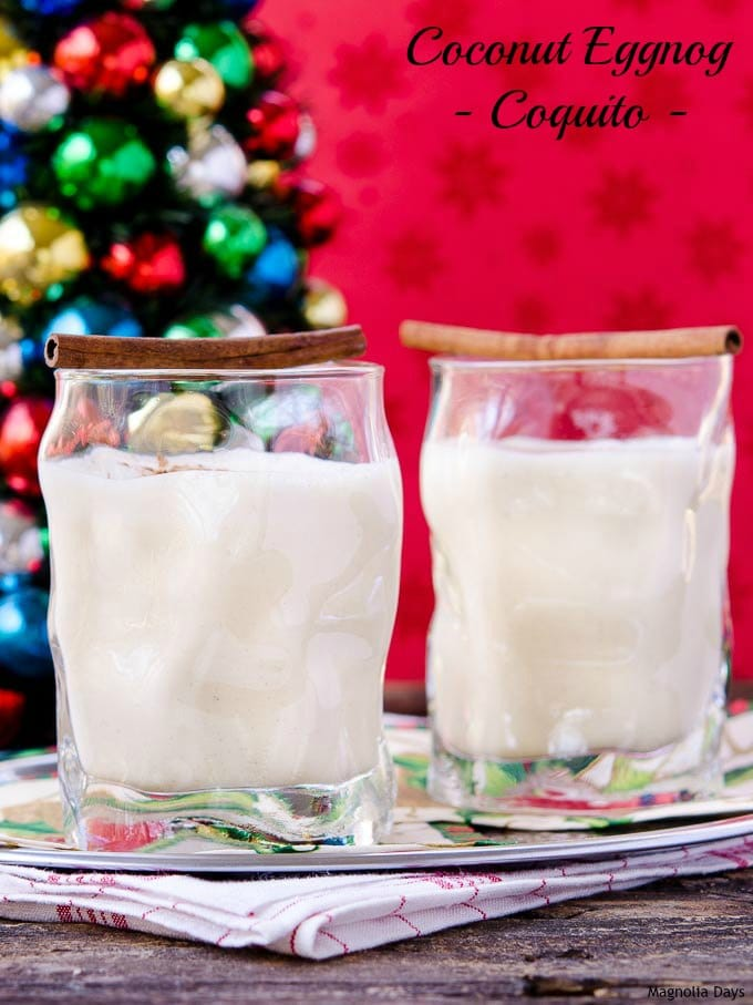 Coconut Eggnog, also known as Coquito, is a rich and creamy holiday drink flavored with coconut, cinnamon, and a touch of nutmeg.