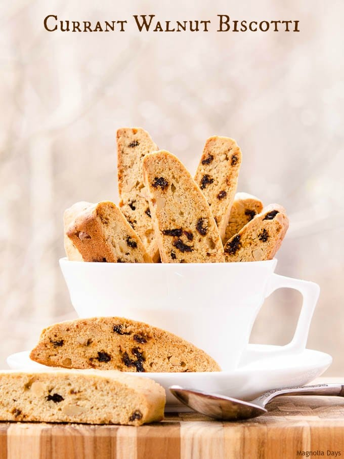 Currant Walnut Biscotti is a crunchy, slightly sweet treat loaded with dried currants and walnuts. It is fantasic with coffee or tea.