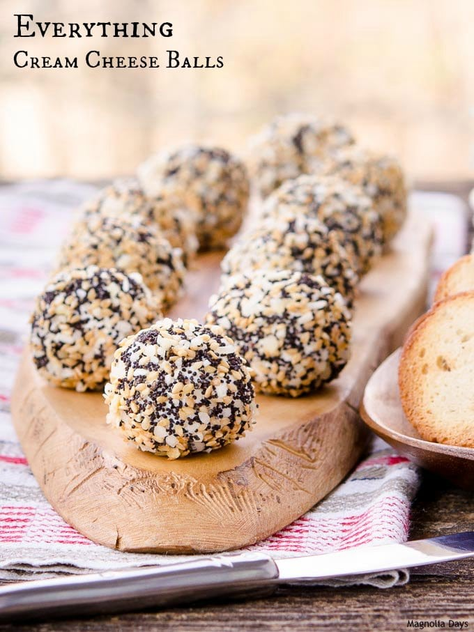 Everything Cream Cheese Balls is a fantastic appetizer served with bagel chips. It has all the flavors of an everything bagel with cream cheese.