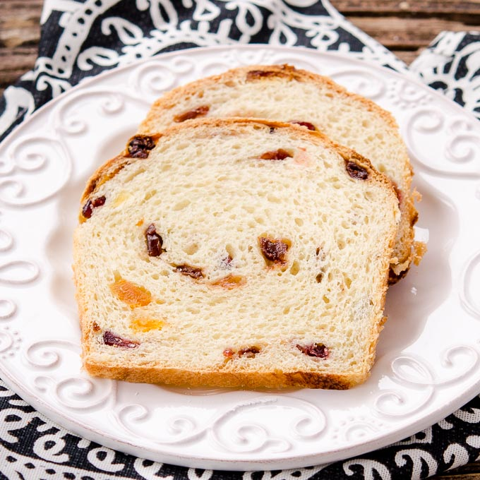 This Fruity Butter Bread has the richness of eggs and butter plus sweetness of dried fruit. Make the dough one day and bake it the next.
