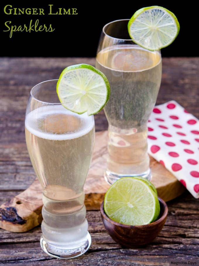 Ginger-Lime Sparklers are a festive cocktail with sparkling wine, ginger-lime syrup, and fresh lime juice. Make them for your next celebration.