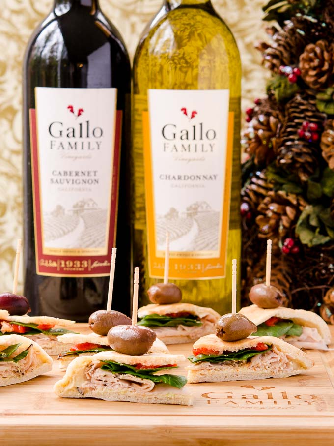 Mediterranean Turkey Pita Bites with Gallo Family Vineyards wine. This is an easy appetizer and wine pairing for your next party.