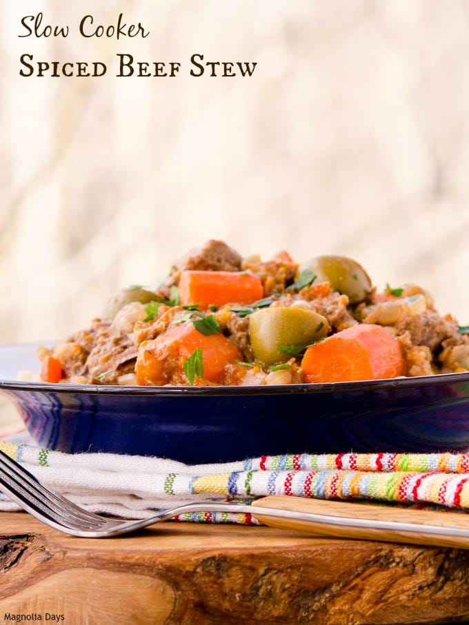 Slow Cooker Spiced Beef Stew with carrots, onion, olives, and garlic plus a flavorful mix of spices. Serve it over couscous (or rice for gluten-free option).