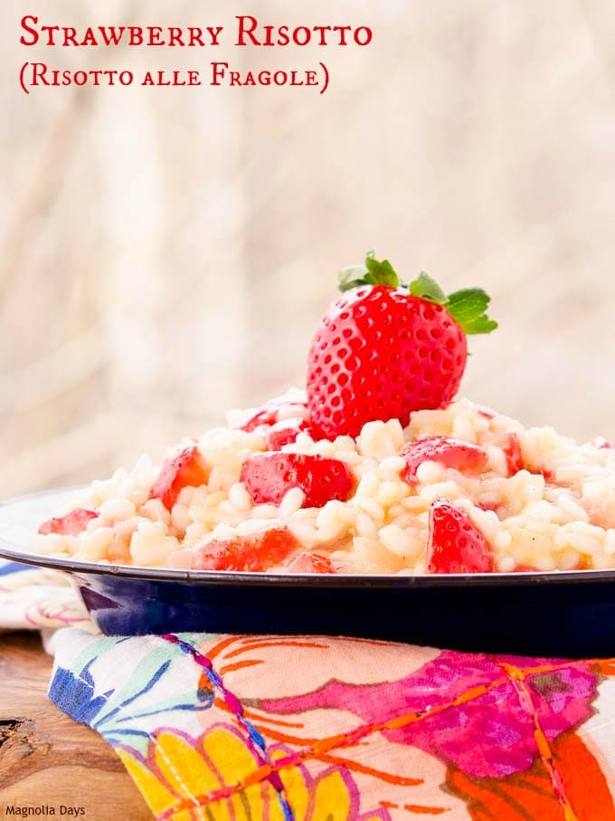 Strawberry Risotto (Risotto alle Fragole) is a savory rice dish made with strawberries. It's comfort food to brighten up a cold winter day.