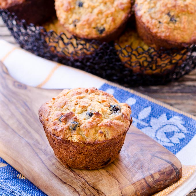 Blueberry Peach Quinoa Oatmeal Muffins by Magnolia Days