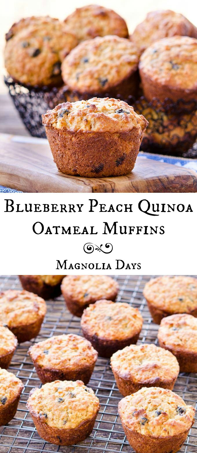 Blueberry Peach Quinoa Oatmeal Muffins are dense, moist, and loaded with blueberries and peaches. A great gluten-free breakfast or snack.