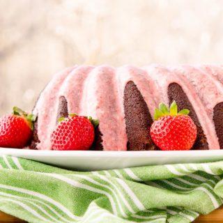 Chocolate Potato Bundt Cake with Strawberry Glaze for #BundtBakers