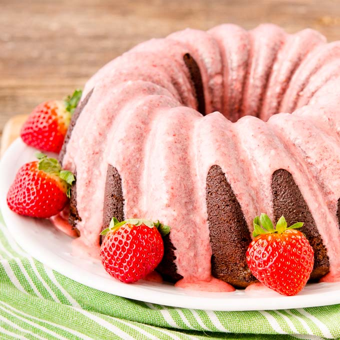 Chocolate Potato Bundt Cake with Strawberry Glaze - Magnolia Days