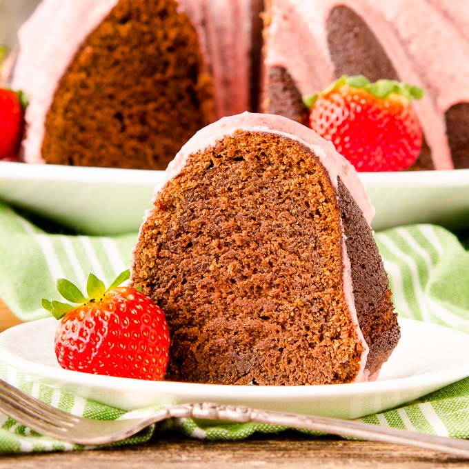 Chocolate Potato Bundt Cake with Strawberry Glaze by Magnolia Days