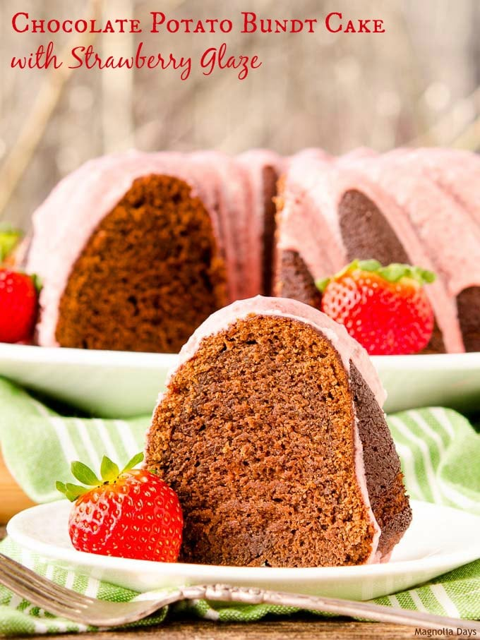 Chocolate Potato Bundt Cake with Strawberry Glaze is a delightful dessert for any occasion. Potato is the secret to it being moist.