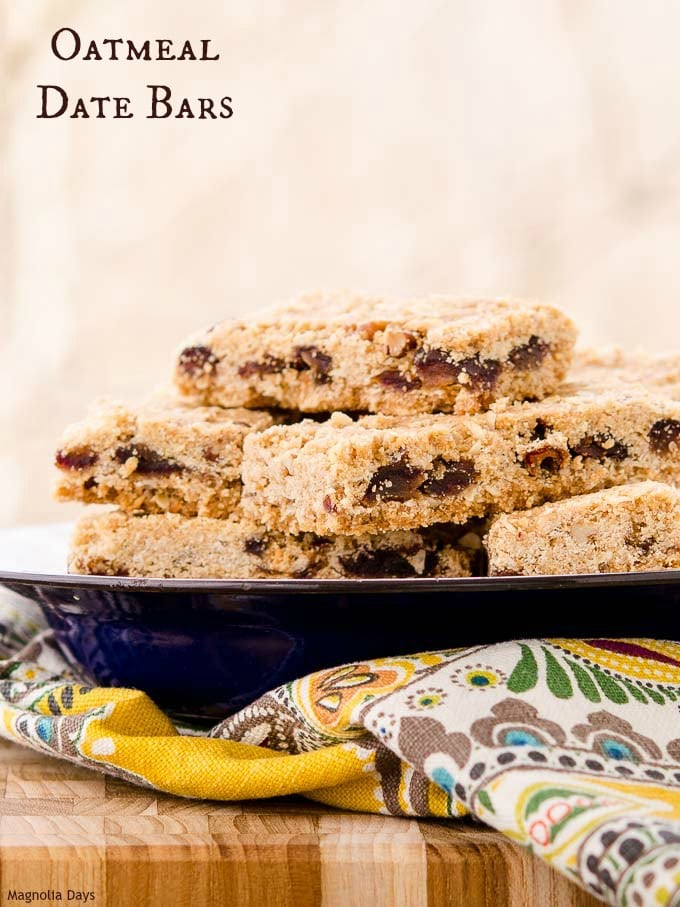 Oatmeal Date Bars are sweet, crumbly treats with chewy dates and crunchy pecans. They are a great snack and terrific crumbled over ice cream.