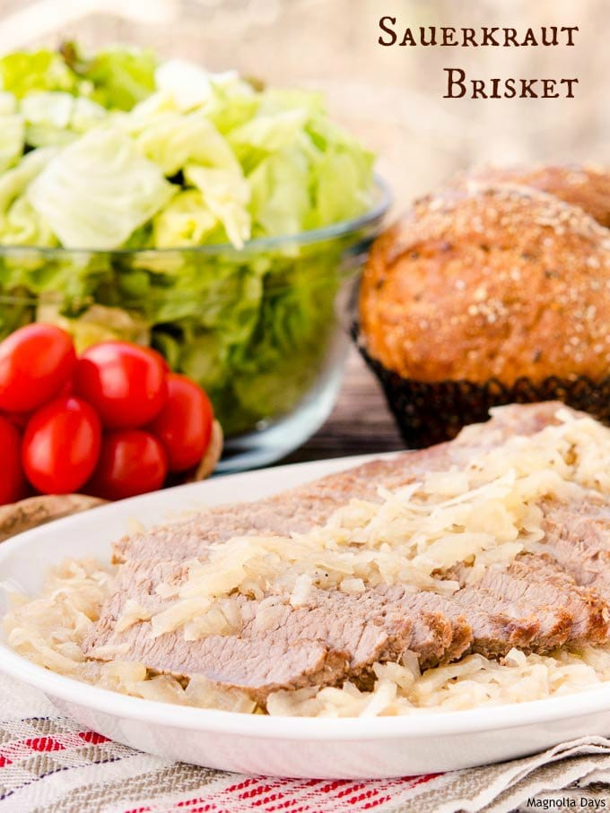 Sauerkraut Brisket is fresh beef brisket slow-simmered in sauerkraut and onions. It's a healthy meal and great for sandwiches too.