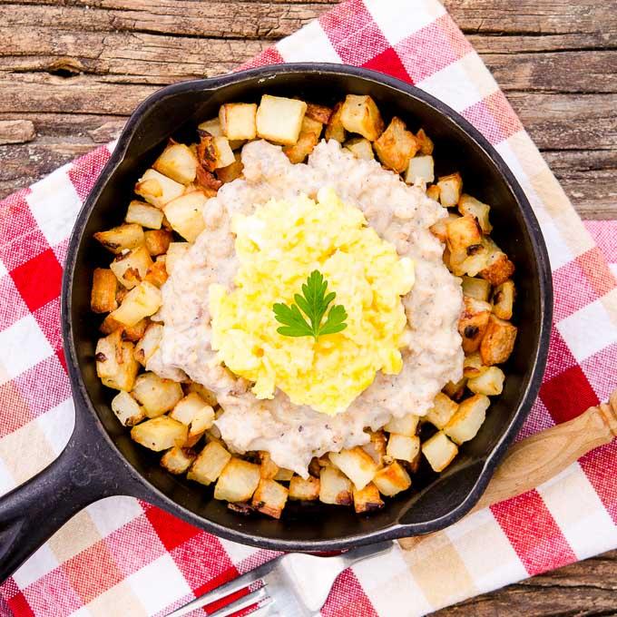 Southern Sausage Breakfast Poutine | Magnolia Days