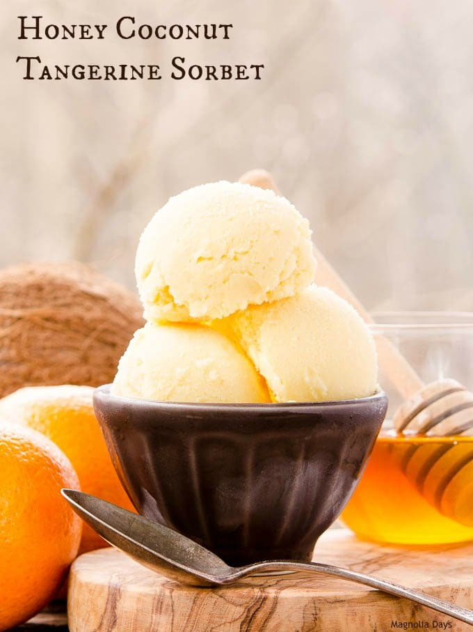 Honey Coconut Tangerine Sorbet is a creamy and snow-like frozen treat with tropical and citrus flavors. It's dairy-free too.